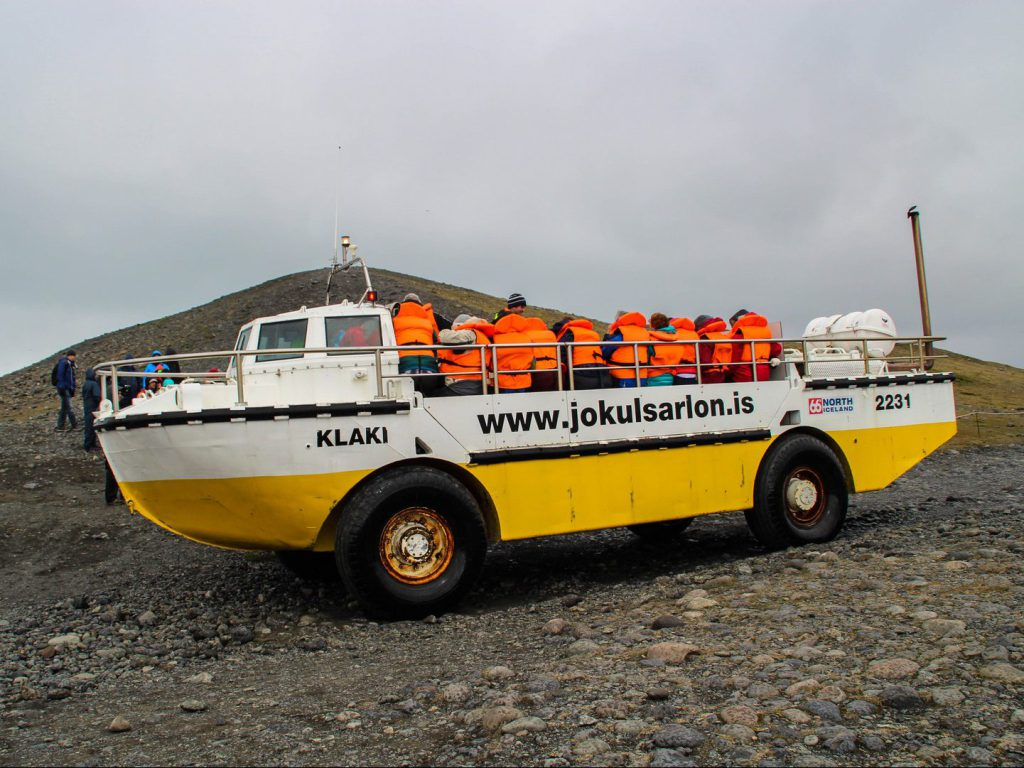 Amphibian vehicle on its way to Jökulsárlón glacier lagoon Iceland