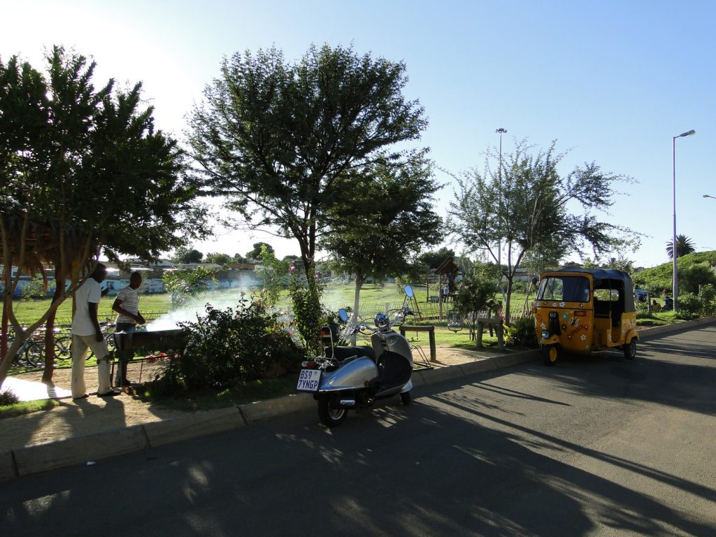 Tuktuk and scooter and barbecue at Lebo's Soweto Backpackers Johannesburg South Africa