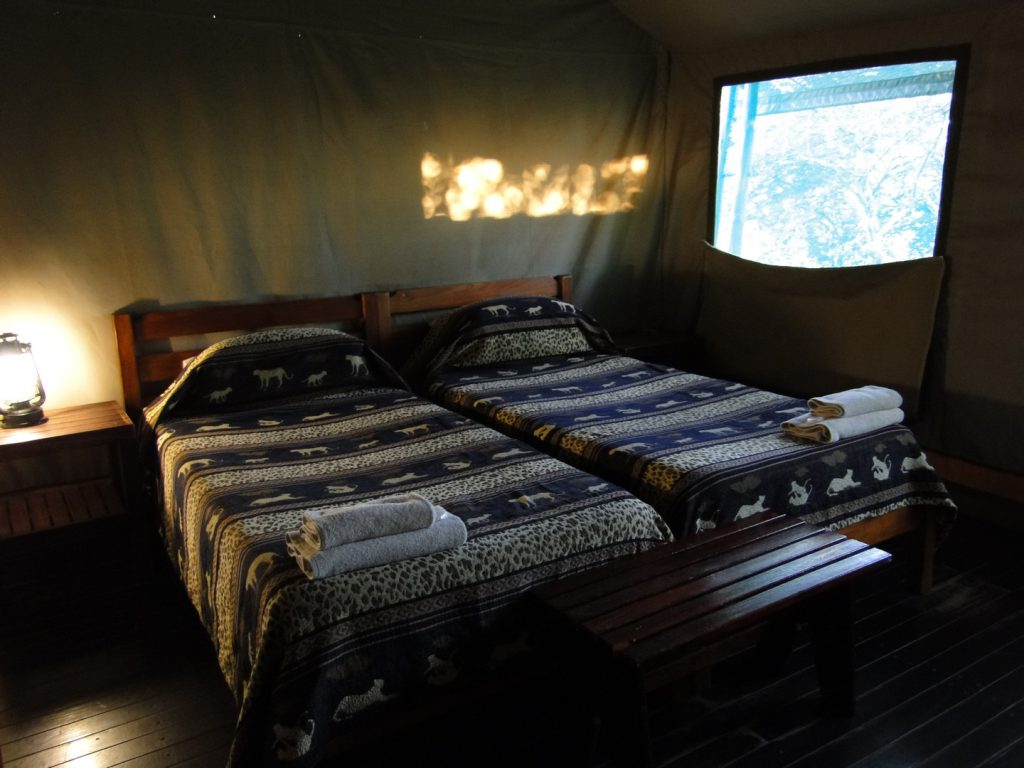 Bedroom in safari tent Lower Sabie Rest Camp South Africa