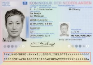Machine-readable strip in Dutch passport