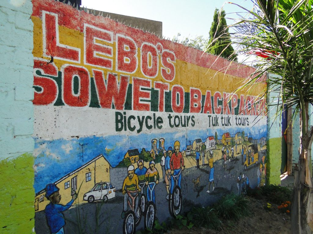 Mural painting at entrance Lebo's Soweto Backpackers Johannesburg South Africa