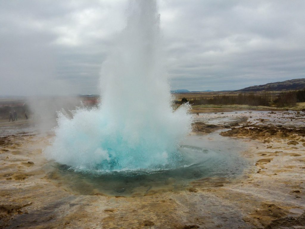 Eruption of Strokkur geyser Iceland