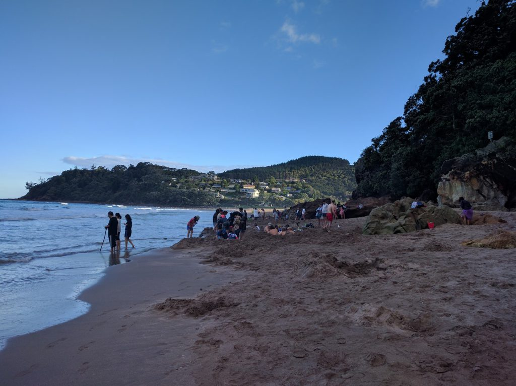 People are digging at Hot Water Beach New Zealand