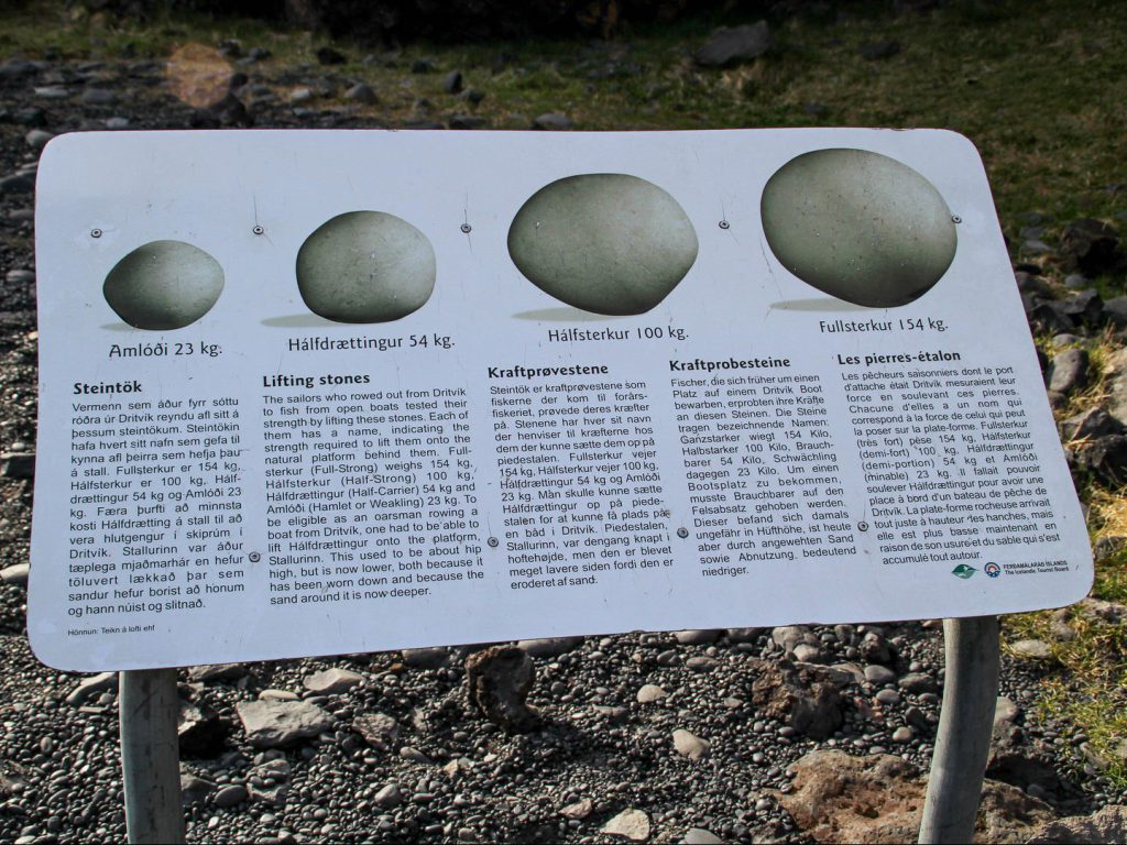 Information board about the lifting stones at Djúpalónssandur beach Iceland