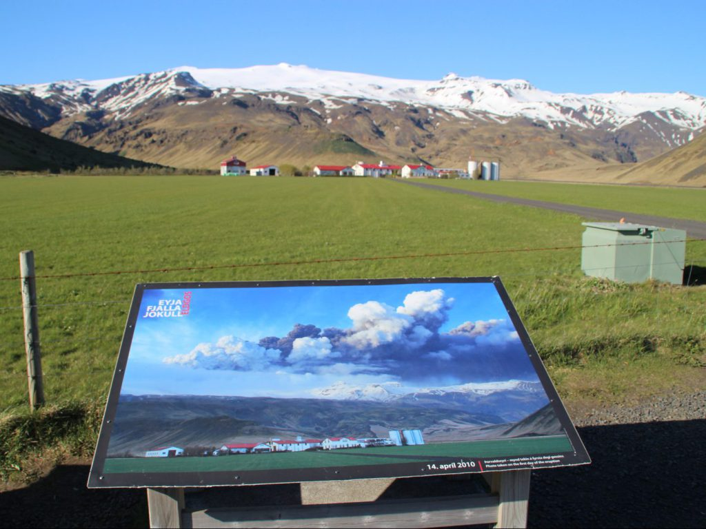 Information board about eruption Eyjafjallajökull at Iceland Erupts Museum