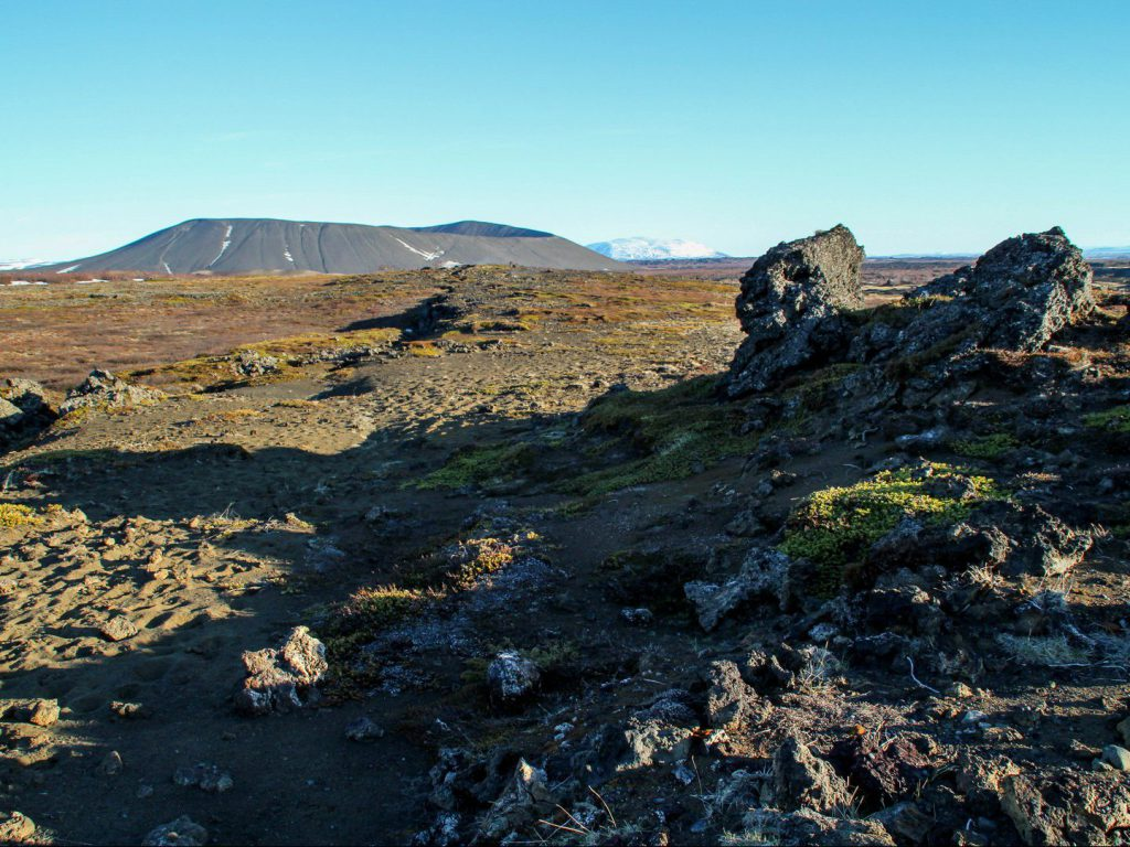 Hverfjall crater and surrounding lava fields Iceland