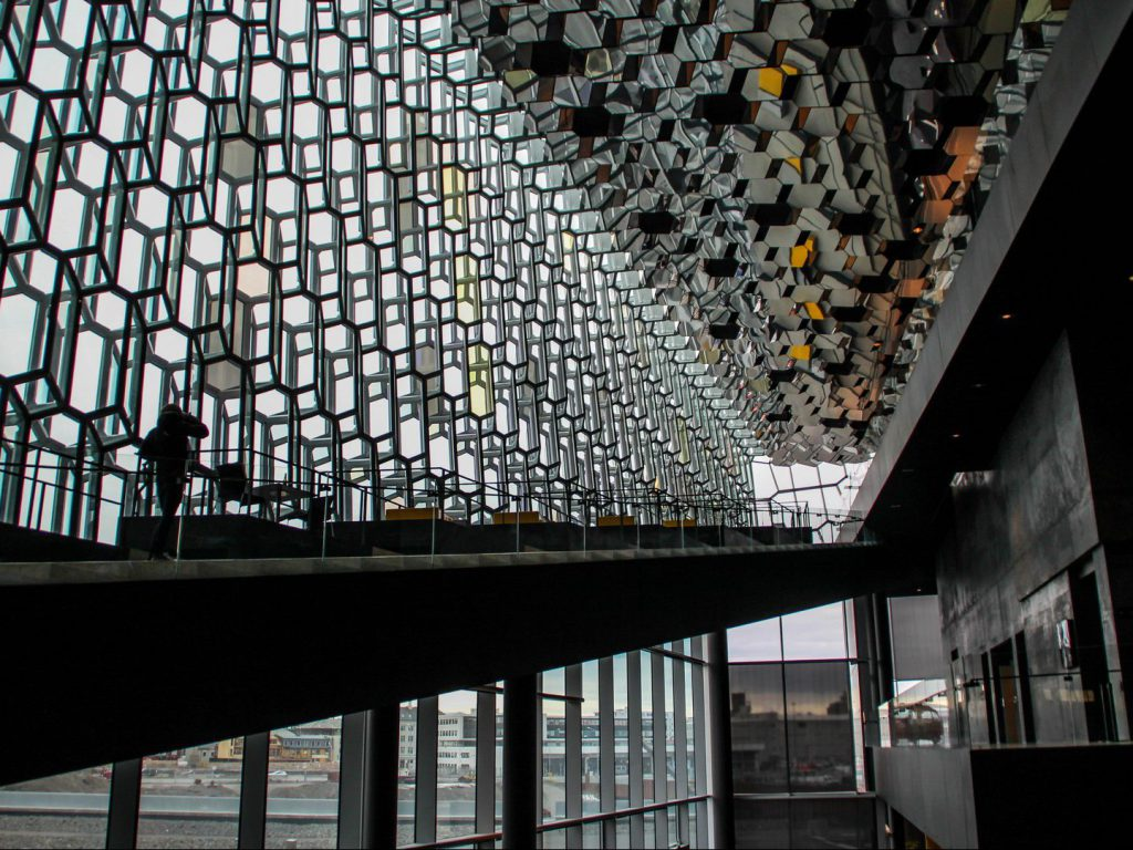 Lobby of the Harpa concert hall in Reykjavik
