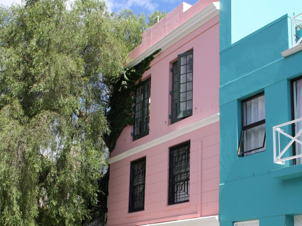 Pink and blue house in Cape Town South Africa