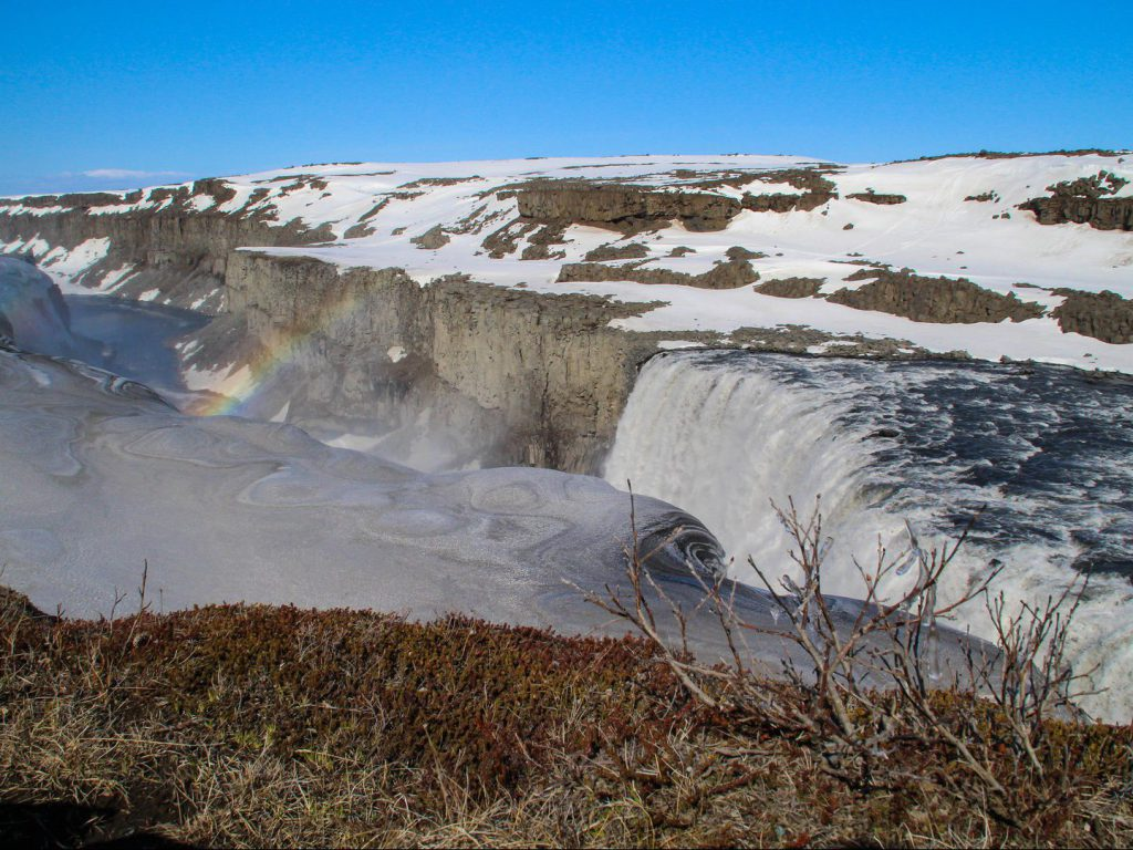 Rainbow above Dettifoss waterfall Iceland