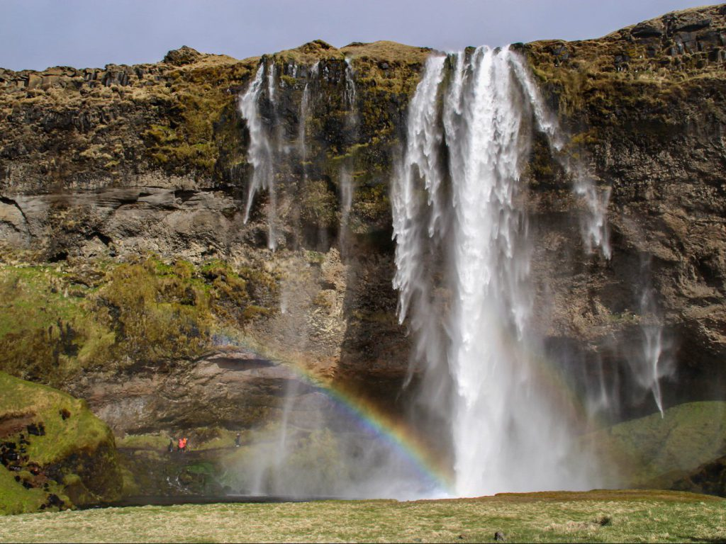 Rainbow at Seljalandsfoss waterfall Iceland