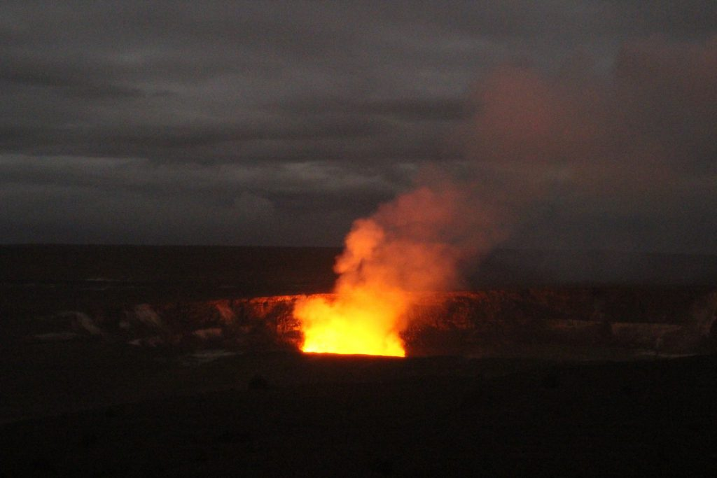 Red glow at night above Halemaʻumaʻu Crater Hawaii