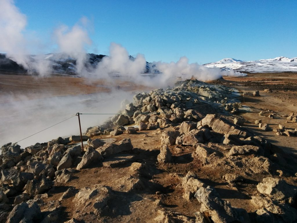 Steam rises above Hvérir Iceland