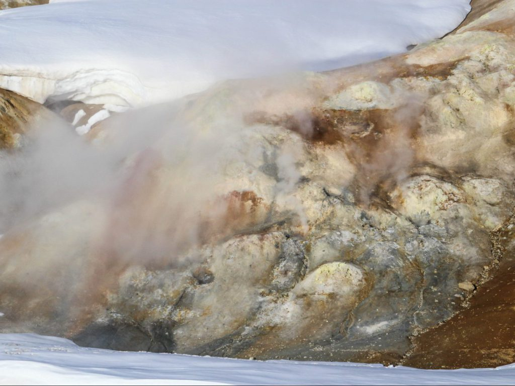 Sulfur fumes rise from the area around Krafla Iceland