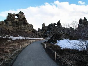 Trail along lava formations Dimmuborgir Iceland