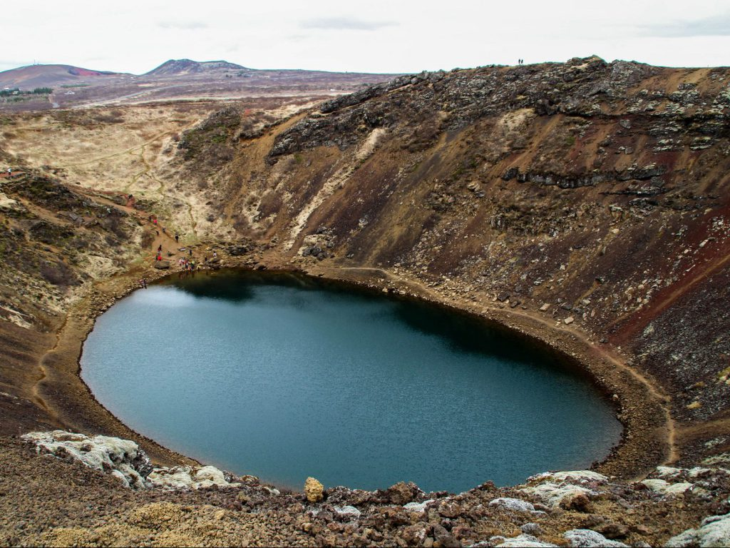 Lake in old explosion crater Kerið Iceland