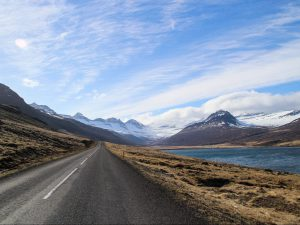 Winding road through the fjords in Iceland