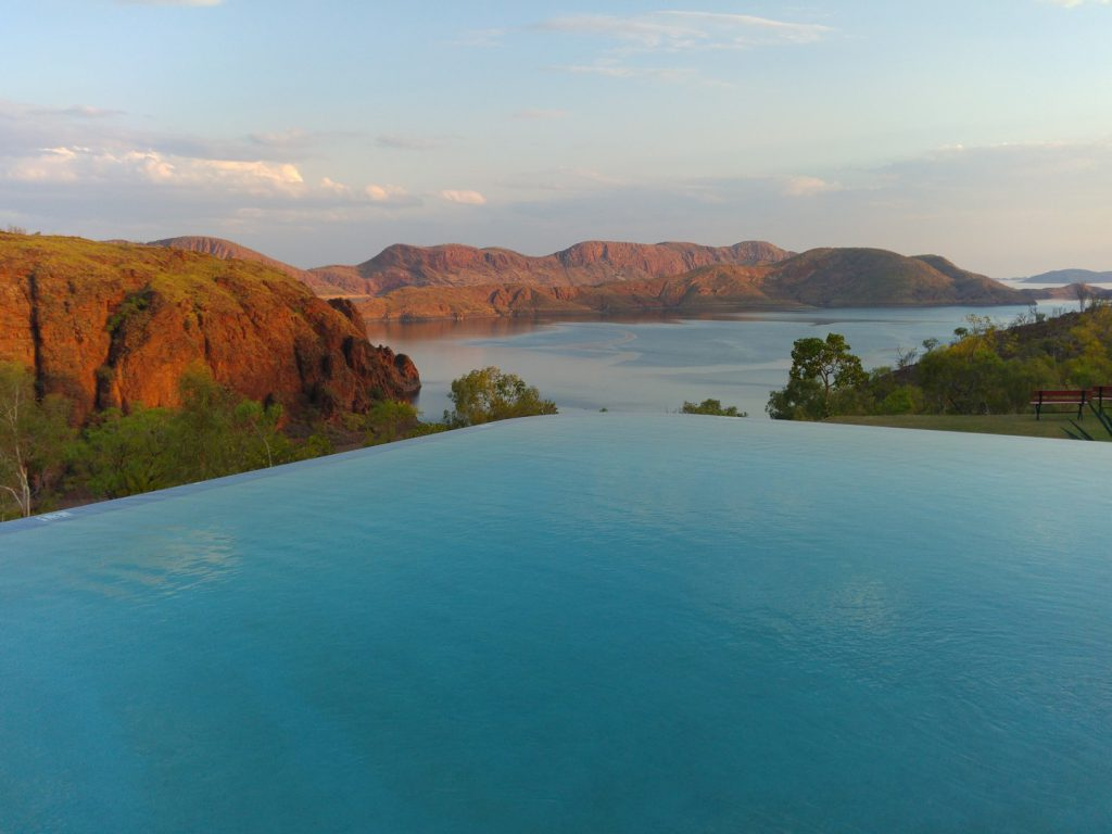 View Lake Argyle from infinity pool Australia