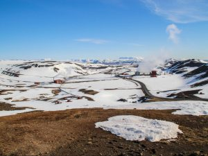 Geothermal area of Krafla Power Plant on Iceland is covered in snow