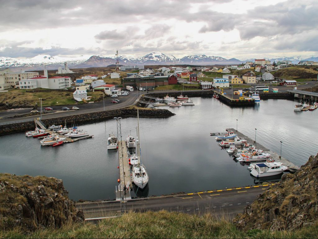 The harbour of fishing village Stykkishólmur Iceland