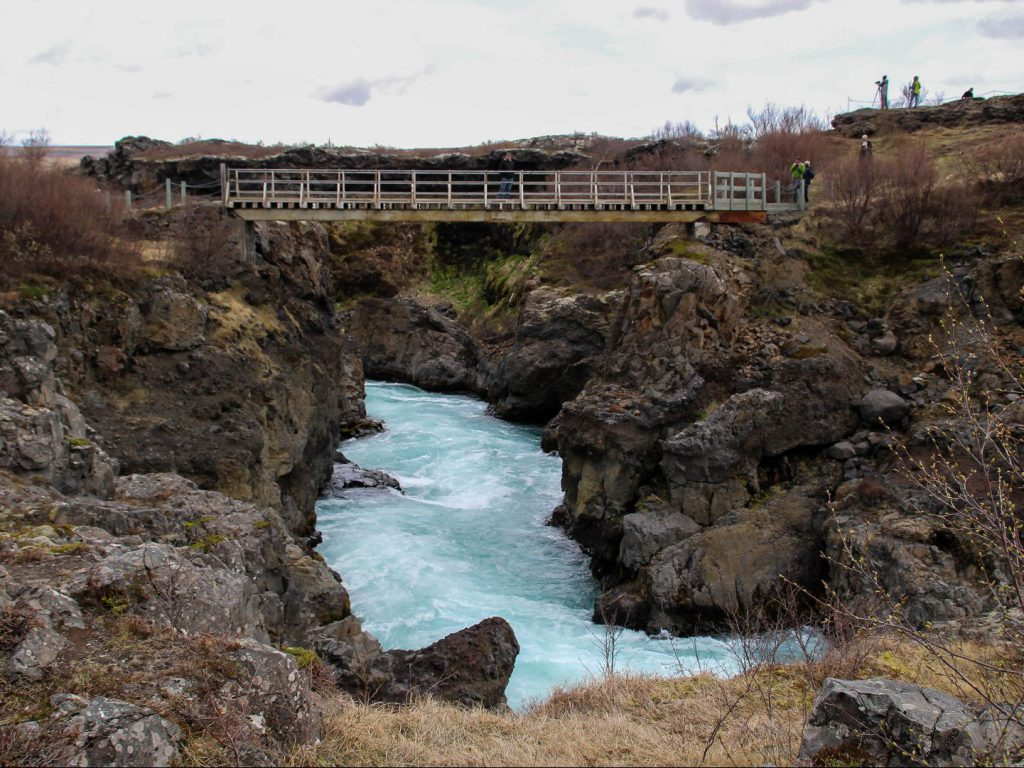 Footbridge runs across Barnafoss Iceland