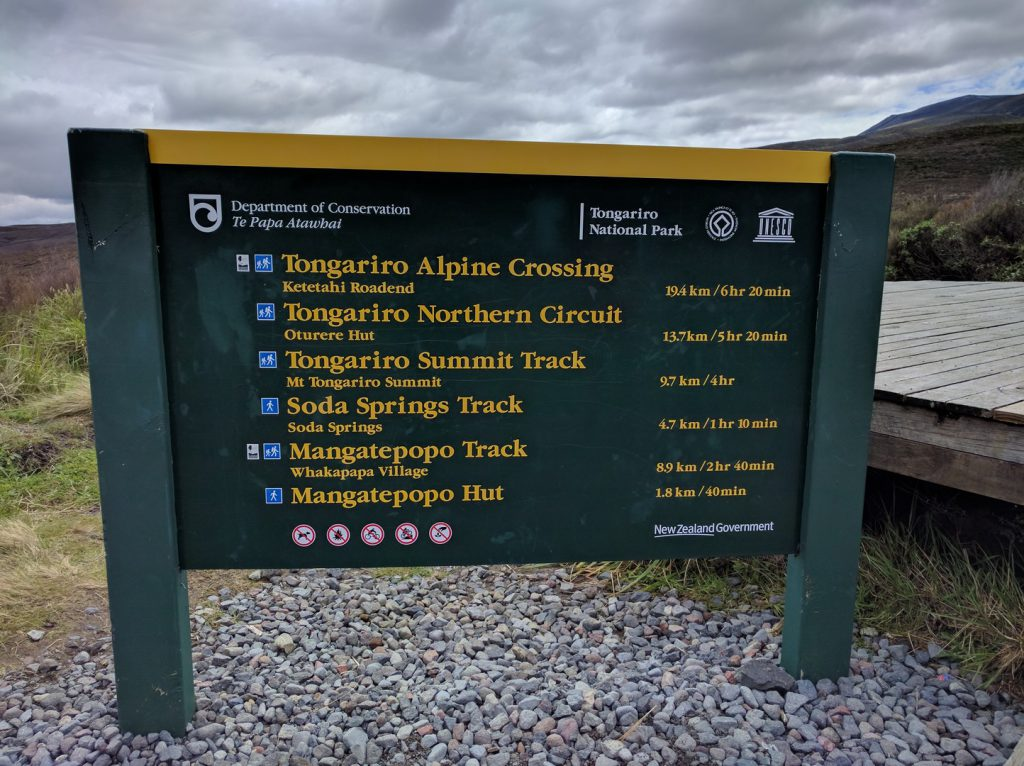 Information board with distances walks Tongariro National Park New Zealand