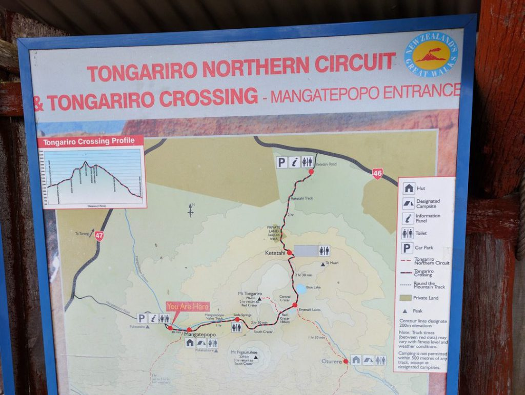 Route map Tongariro Alpine Crossing New Zealand