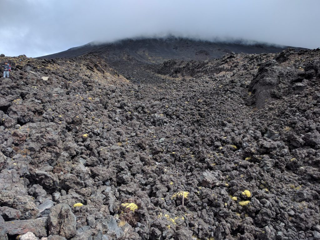 Old lava flow on slope Mount Ngauruhoe New Zealand