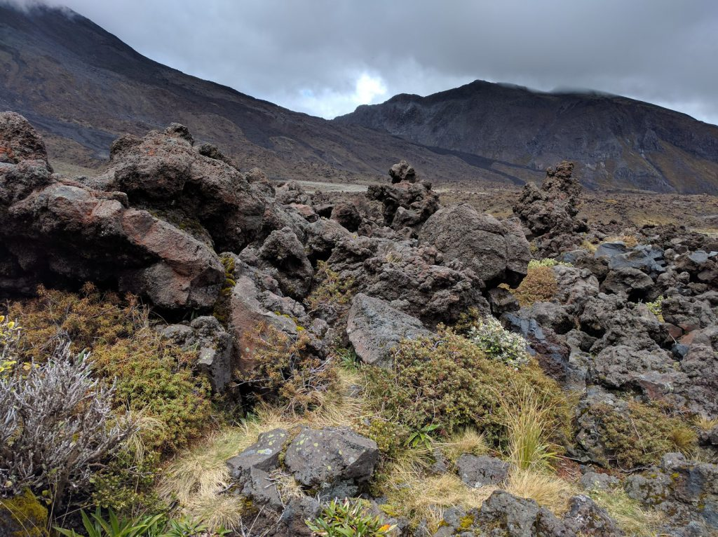 Old lava at Mangatepopo valley Tongariro Alpine Crossing New Zealand