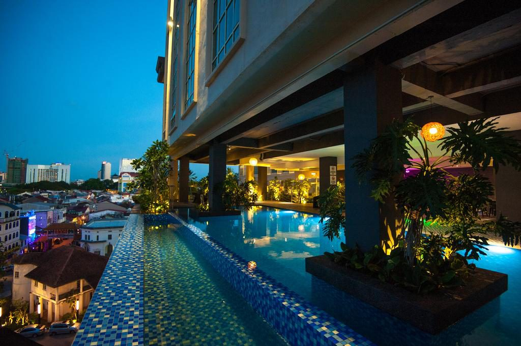 Lighted swimming pool The Waterfront Hotel Kuching Borneo