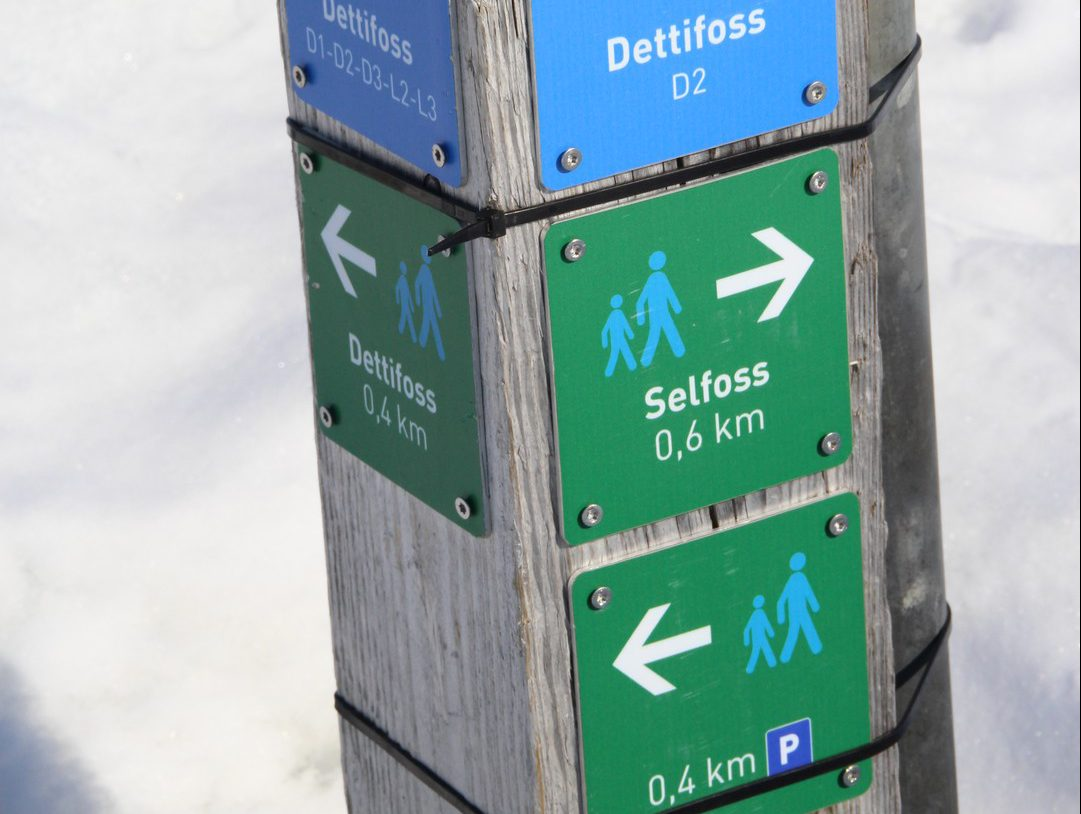 Signpost with distances to Dettifoss and Selfoss Iceland
