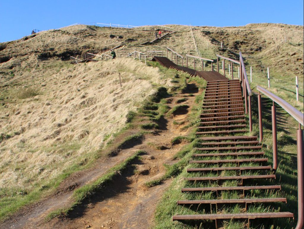 Steel staircase to the top of the Skógafoss Iceland