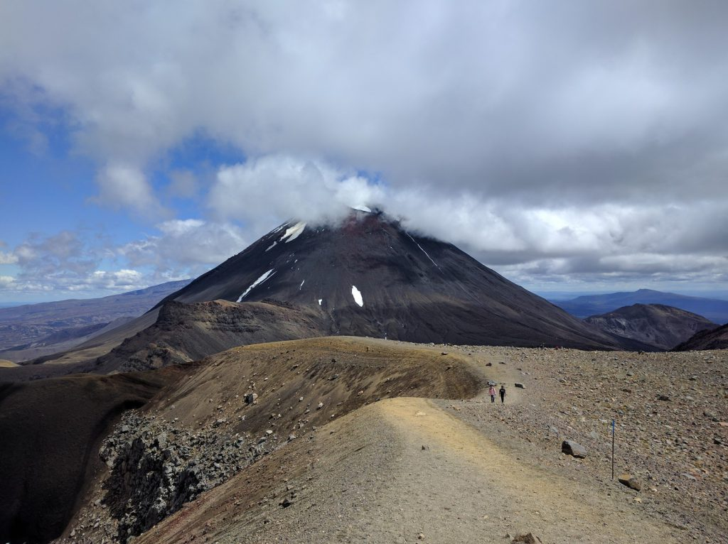 Trail towards Mount Ngauruhoe Tongariro Alpine Crossing New Zealand