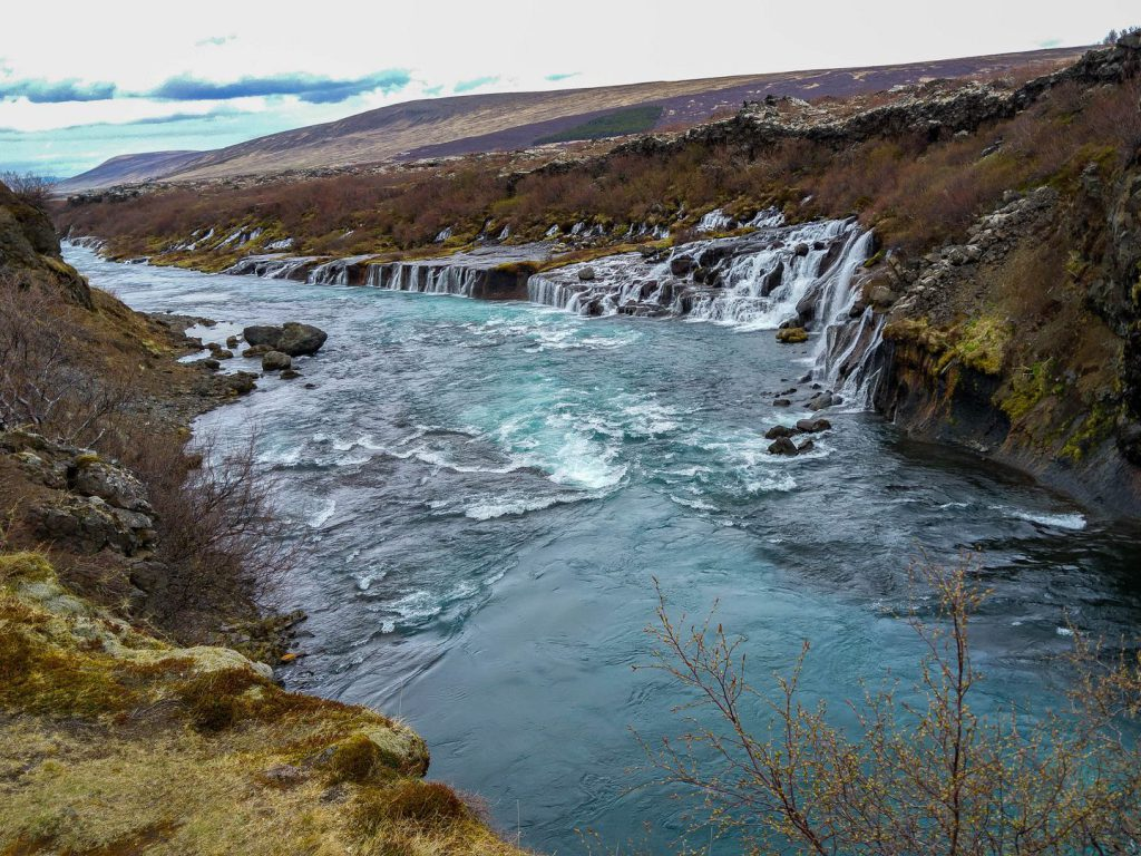 View of the more than 900m wide Hraunfossar Iceland