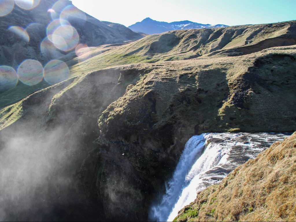 View from the top of the Skógafoss Iceland