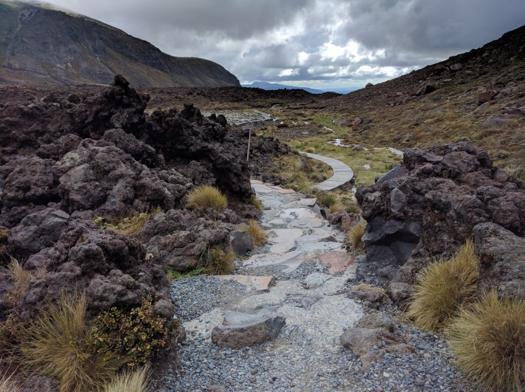Hiking trail in Mangatepopo valley Tongariro Alpine Crossing New Zealand