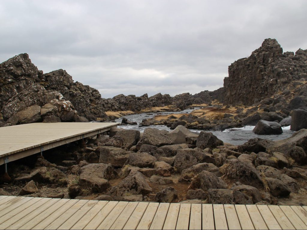 Viewing platform at Almannagjá gorge Þingvellir National Park Iceland