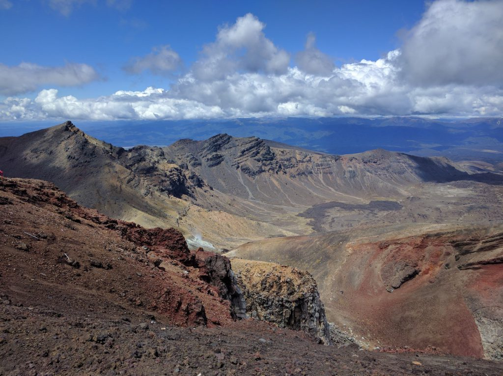 View of volcanic landscape from Red Crater Tongariro Alpine Crossing New Zealand