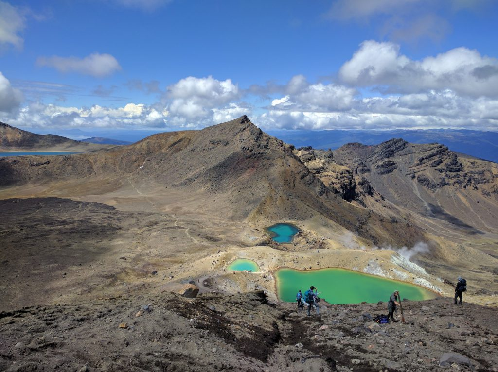 View of volcanic landscape Emerald Lakes and Blue Lake Tongariro Alpine Crossing New Zealand
