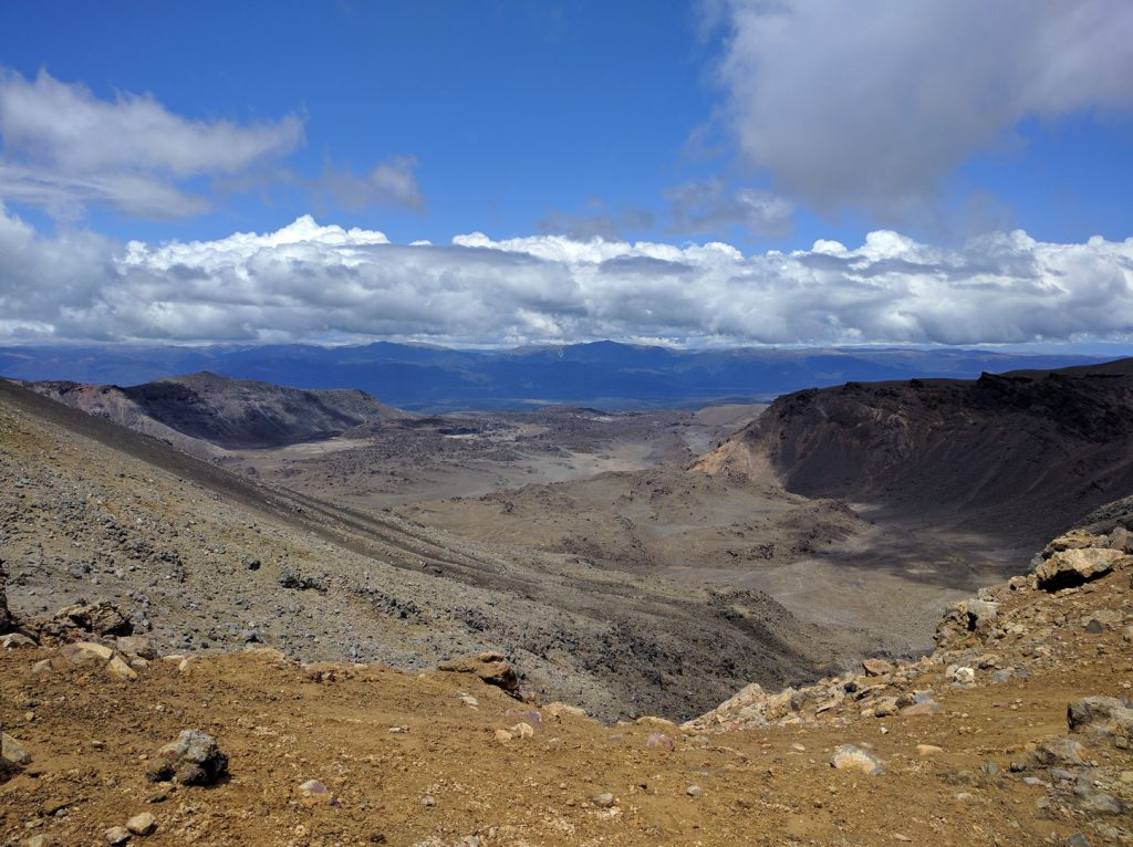 View of volcanic landscape Tongariro Alpine Crossing New Zealand