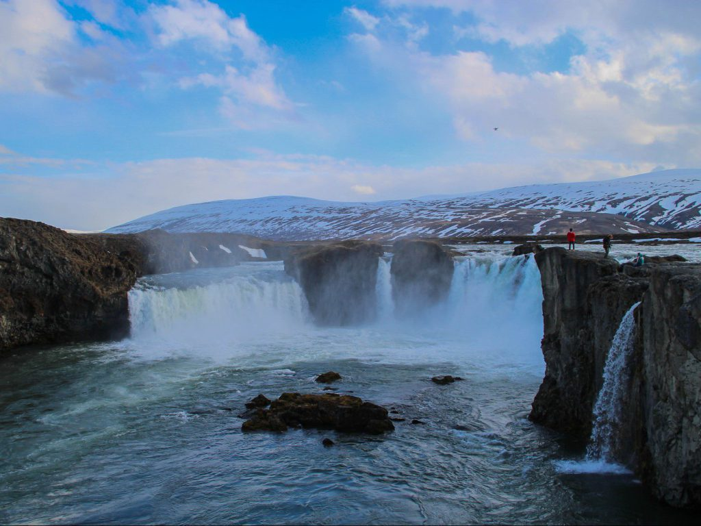View of various waterfalls Góðafoss Iceland