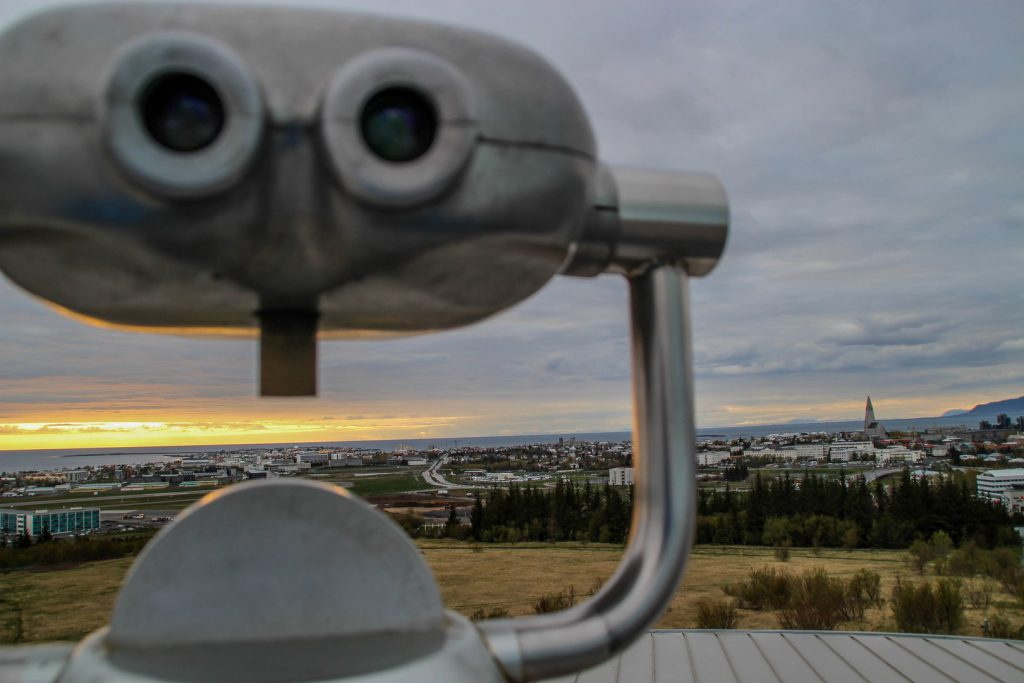 Binoculars with Reykjavik in the background