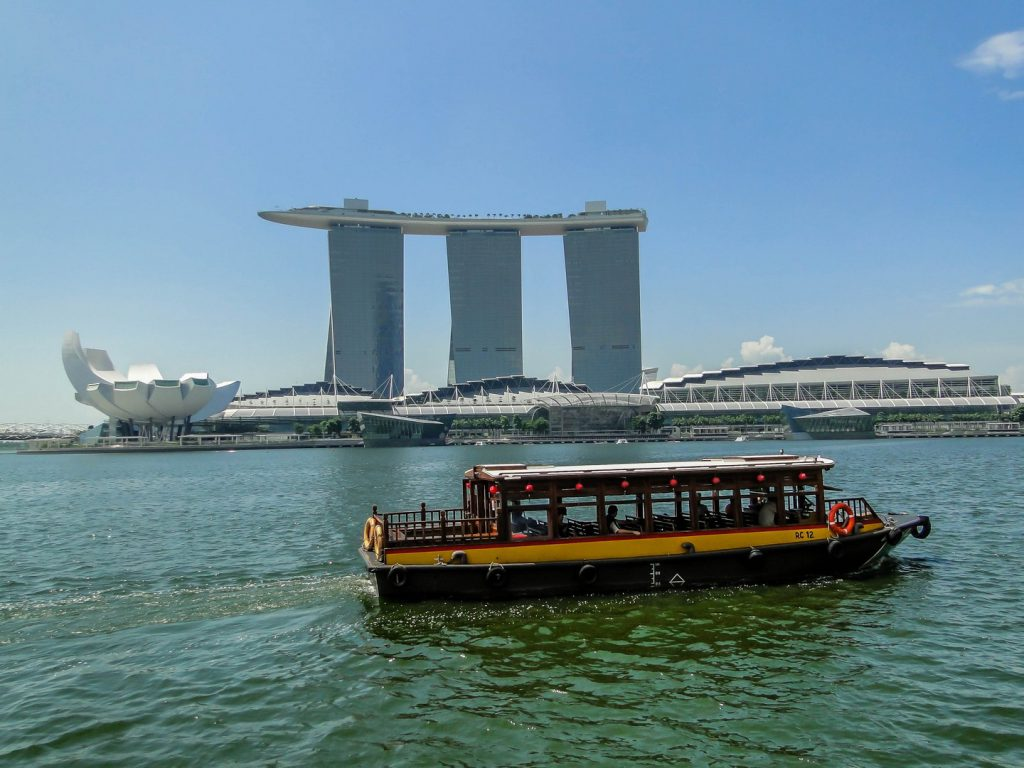 River taxi in front of Marina Bay Sands hotel Singapore