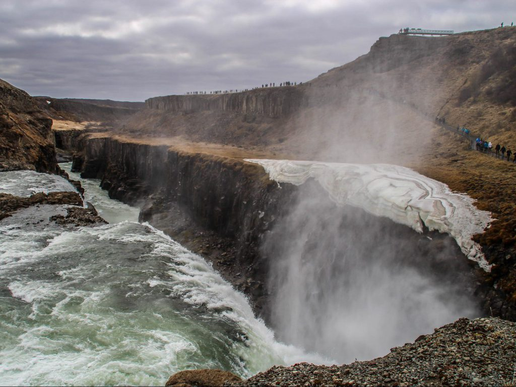 Hiking trail and viewpoint along gorge Gullfoss waterfall Iceland