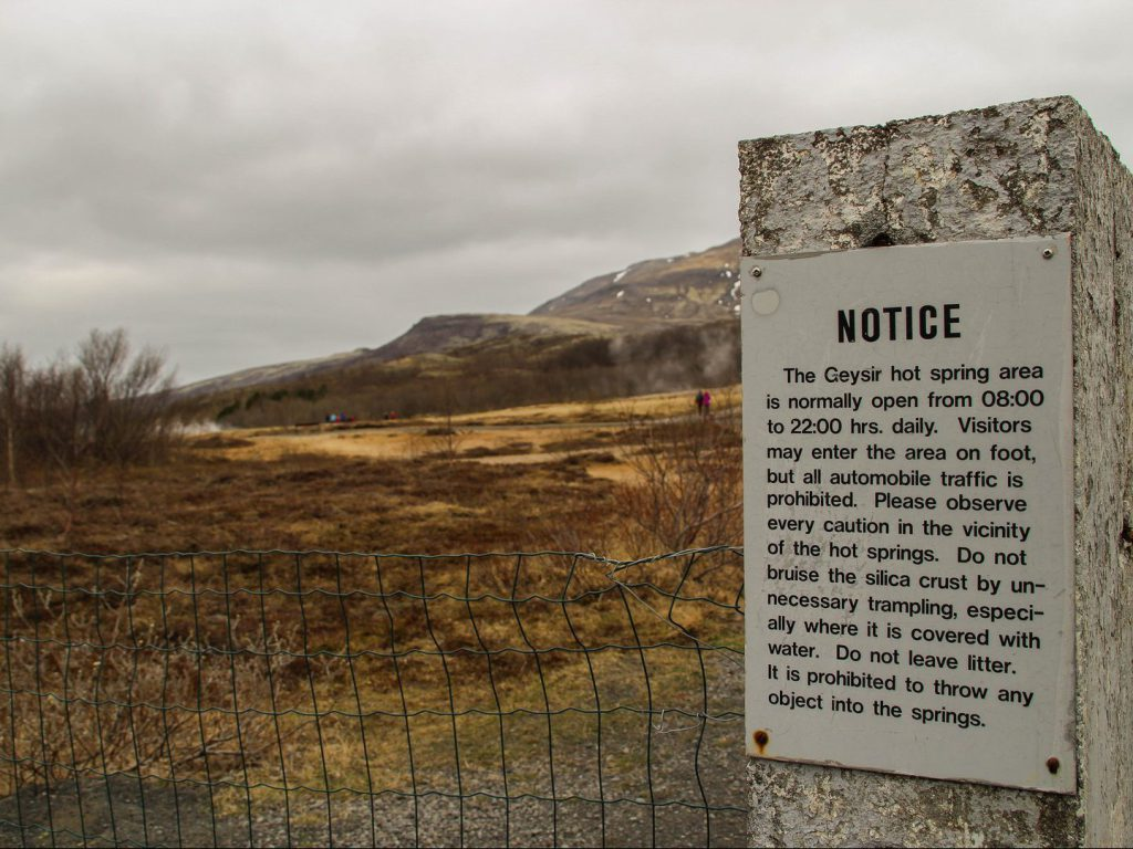 Information sign at entrance Haukadalur Iceland