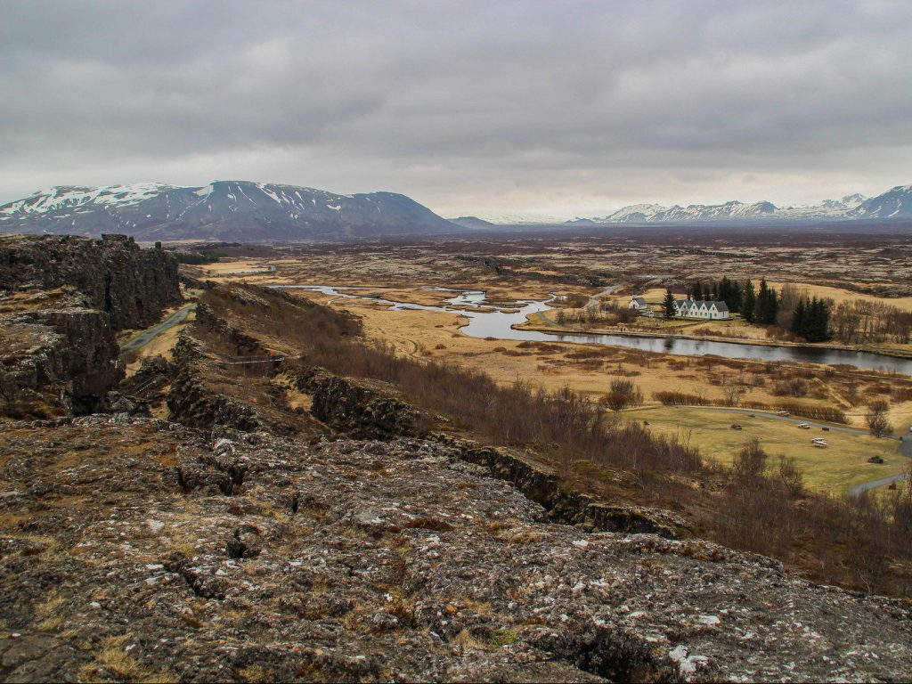 View over gorge and Þingvallakirkja Thingvellir National Park Iceland