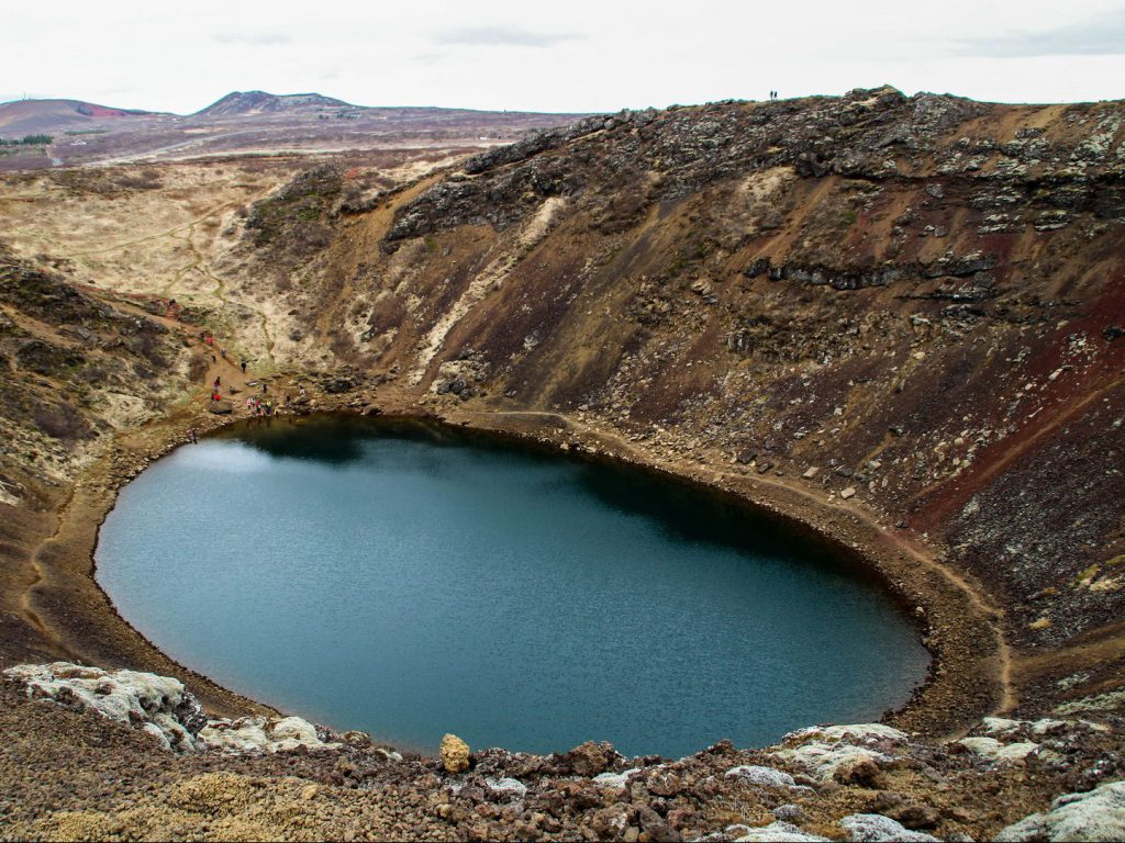 View of explosion crater Kerið Iceland