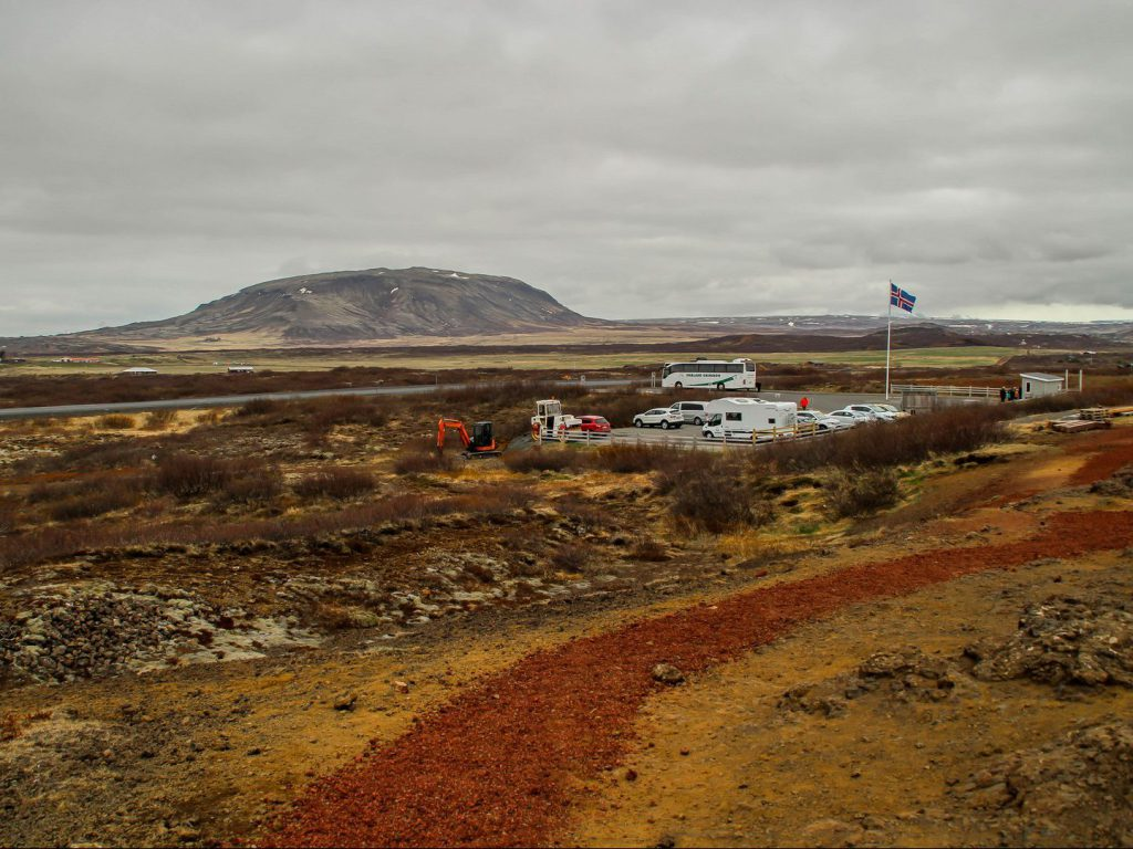 View of parking lot at Kerið explosion crater Iceland