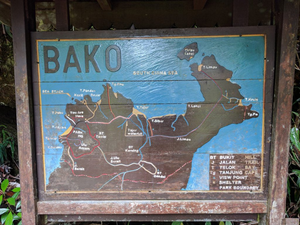 Information board with map Bako National Park Borneo