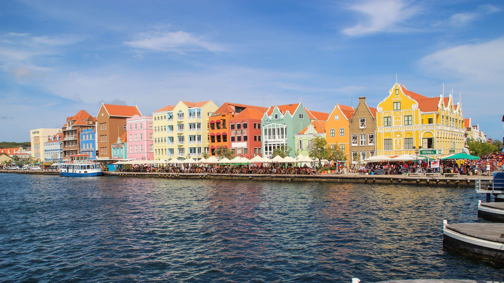 Colored houses waterfront Handelskade and pontoon bridge Willemstad Curaçao