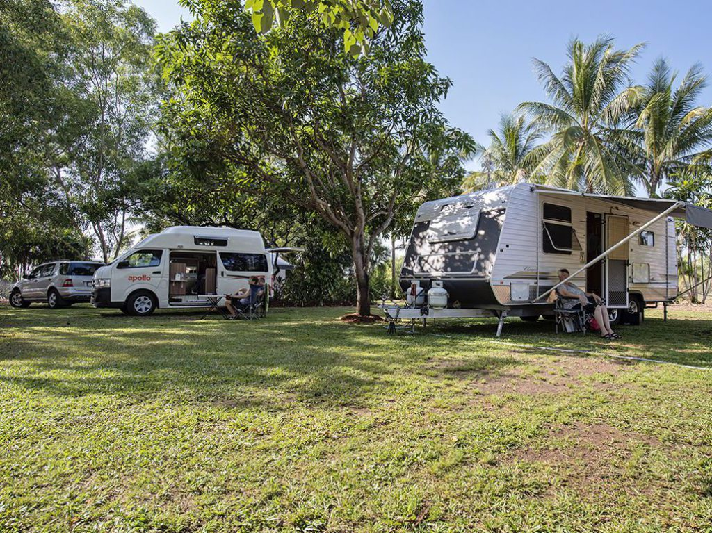 campervan at campsite on lawn campground Discovery Parks Darwin